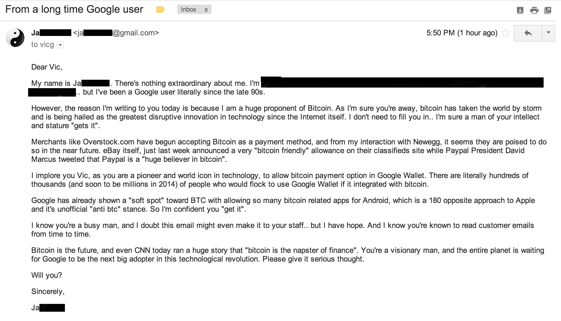 Jason Bored Email to Vic Gundotra Sridhar Ramaswamy Bitcoin Google Wallet