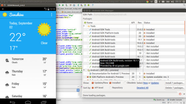 sdk manager android studio linux