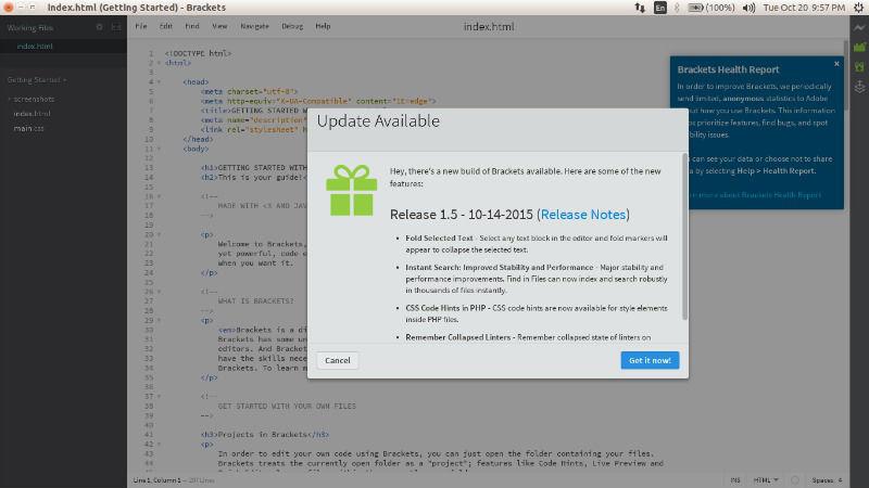 Install Brackets 1 5 Text Editor on Ubuntu 15 04 & Ubuntu 14 04