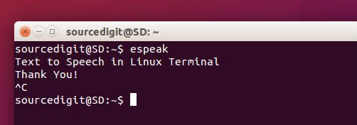 eSpeak For Ubuntu: Read Text To Speech, Via Command Line