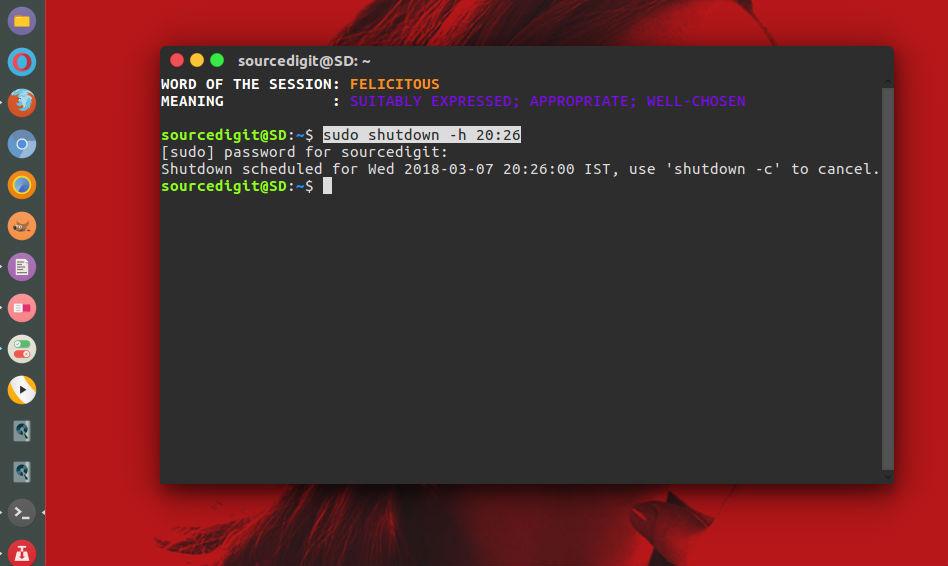 Shutdown Timer Linux