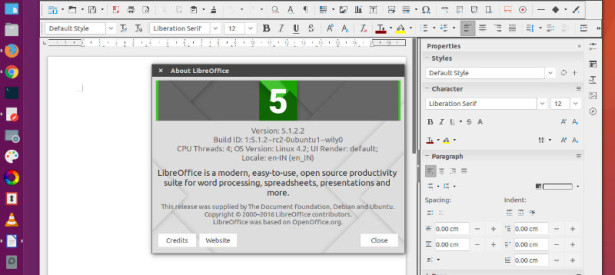 Install LibreOffice 5.1.2 On Ubuntu 16.04